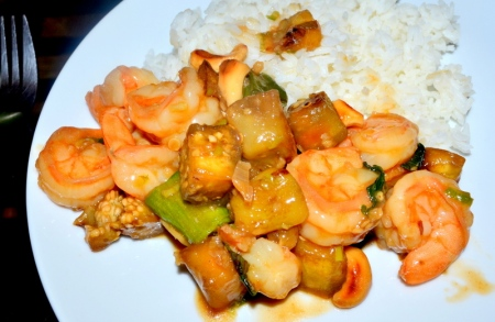 Delicious combination of shrimp and vegetables